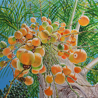 Oil painting Palm Berries by Richard Ficker