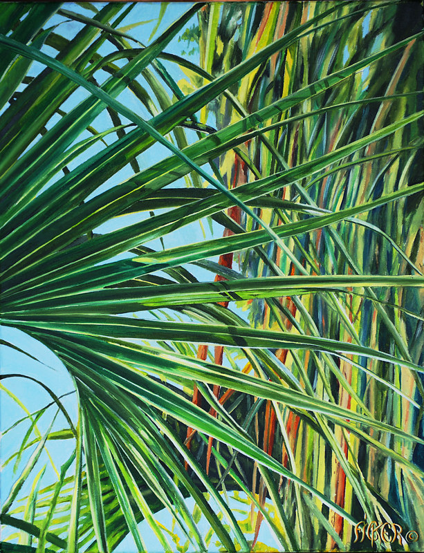 Oil painting Palm Frond by Richard Ficker