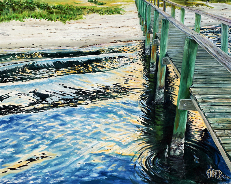 Oil painting Rivers Landing by Richard Ficker