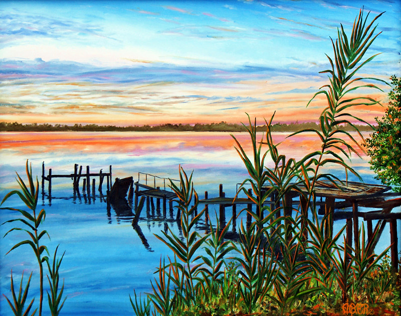 Oil painting  Indian River Sunrise by Richard Ficker