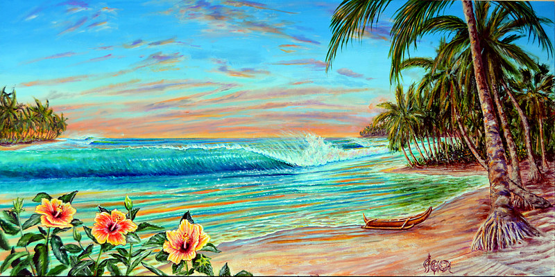 Oil painting Tropical Sunrise by Richard Ficker