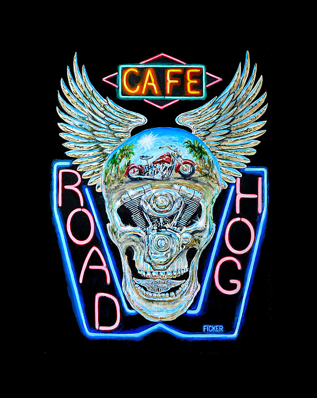 Painting  Road Hog Cafe by Richard Ficker