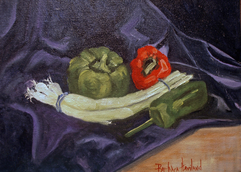 Oil painting Bell Peppers and Onions by Barbara Haviland