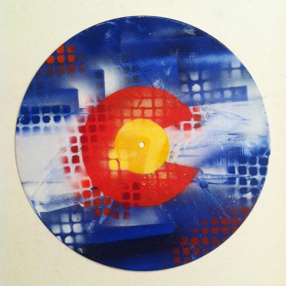 Colorado Flag Abstract  - Painting on Vinyl Record by Mr Mizu by Isaac Carpenter
