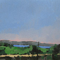 Acrylic painting Evening Lake by Harry Stooshinoff