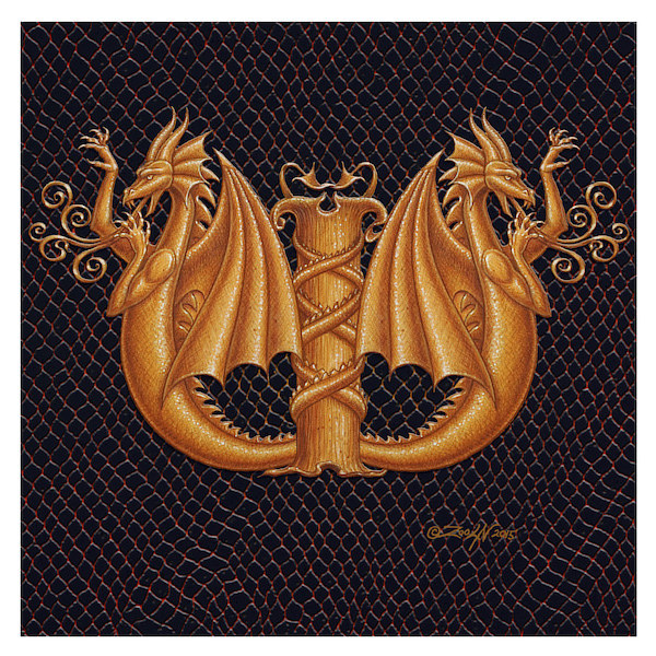 "Print Dracoserific Letter W - 2.0, Gold on Jet Black 6x6""Square by Sue Ellen Brown"