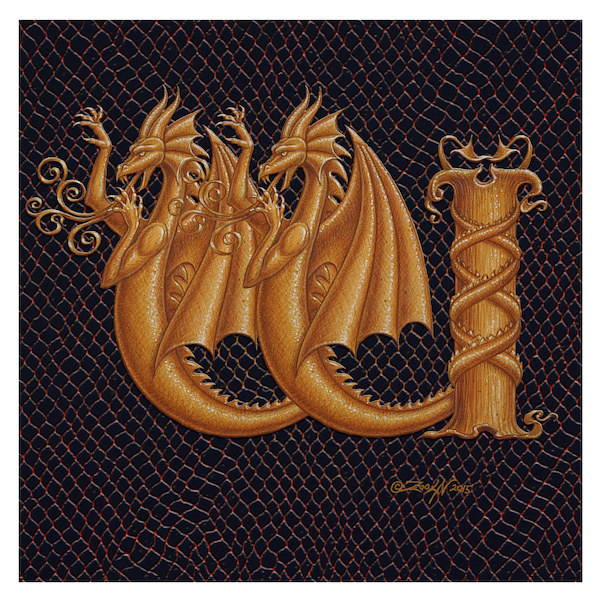 "Print Letter W-1, Gold 6x6"" by Sue Ellen Brown"
