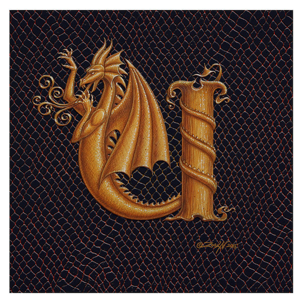 "Print Letter U, Gold 6x6"" by Sue Ellen Brown"