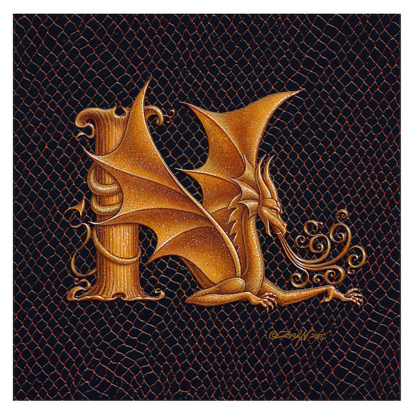 "Print Letter N, Gold 6x6"" by Sue Ellen Brown"