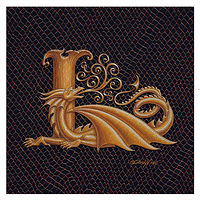 "Print Letter L, Gold 6x6"" by Sue Ellen Brown"