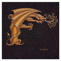 "Print Letter F, Gold 6x6"" by Sue Ellen Brown"