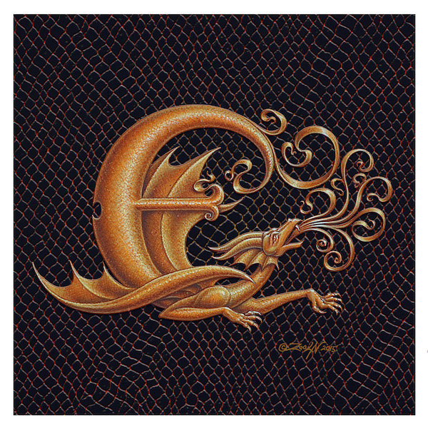 "Print Letter E, Gold 6x6"" by Sue Ellen Brown"