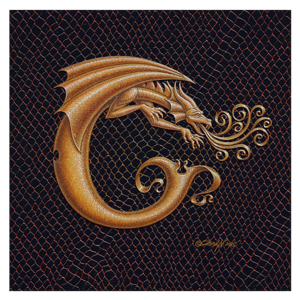 "Print Dracoserific Letter C, Gold on Jet Black 6x6""Square by Sue Ellen Brown"