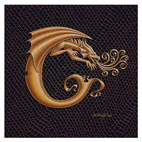 "Print Letter C, Gold 6x6"" by Sue Ellen Brown"