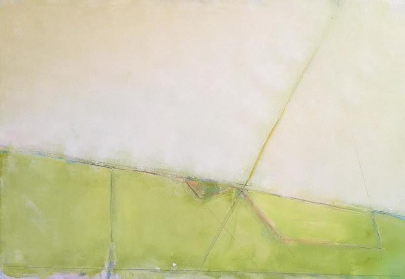 Acrylic painting Abstract Horizon with Green by Sarah Trundle