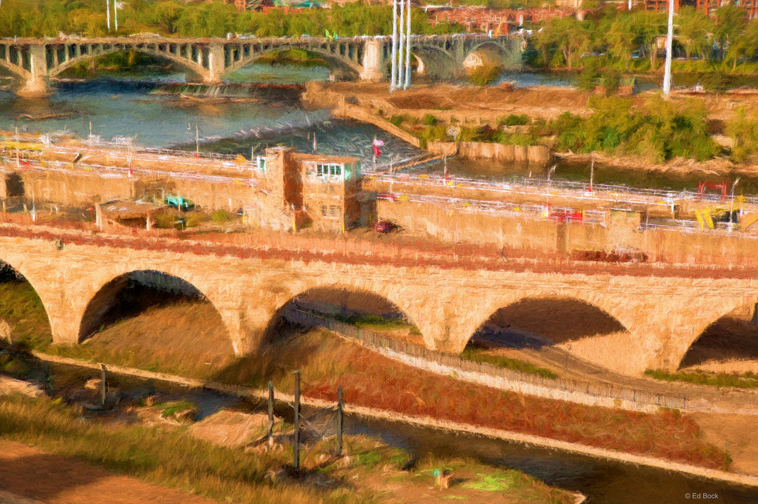 Print Stone Arch Bridge - Minneapolis Impression by Edward Bock