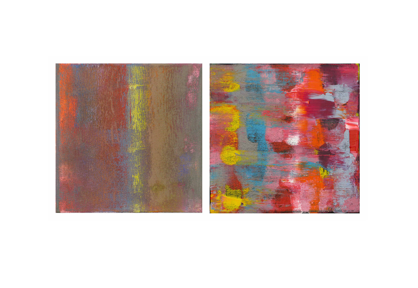 Acrylic painting Waft of Color, 8x8 inches each by Hooshang Khorasani