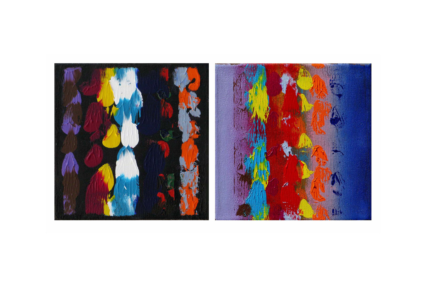 Acrylic painting Color Storm Views III, 8x8 inches each by Hooshang Khorasani