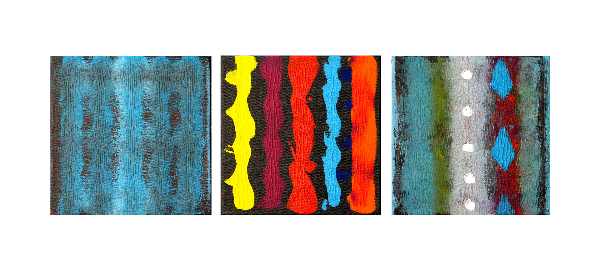 Acrylic painting Decorative Trio, 8x8 inches each by Hooshang Khorasani