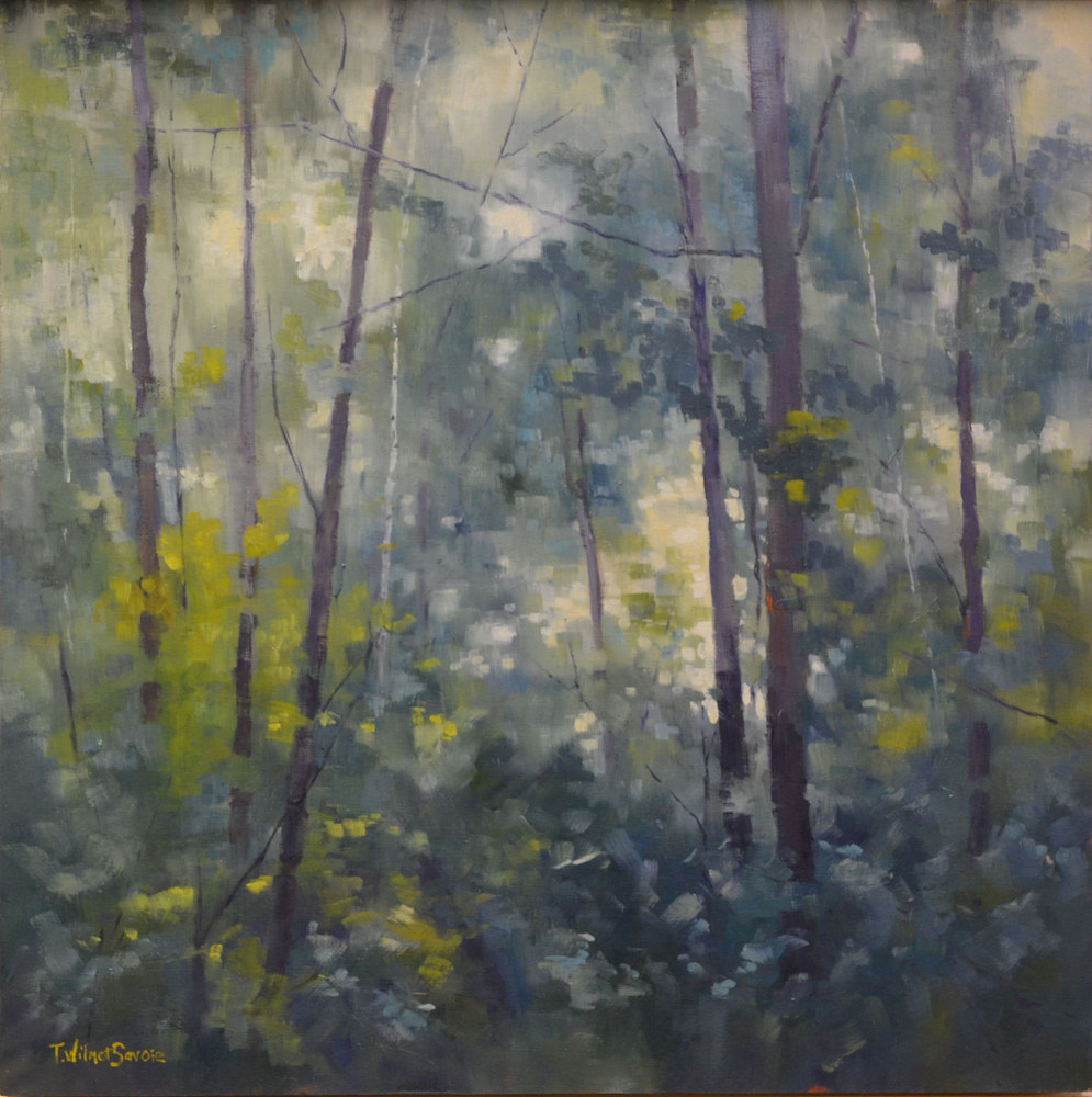 If You Go Out InThe Woods Today - oil on gallery cradled wood panel 20 x 20  04-0616 by Patricia Savoie