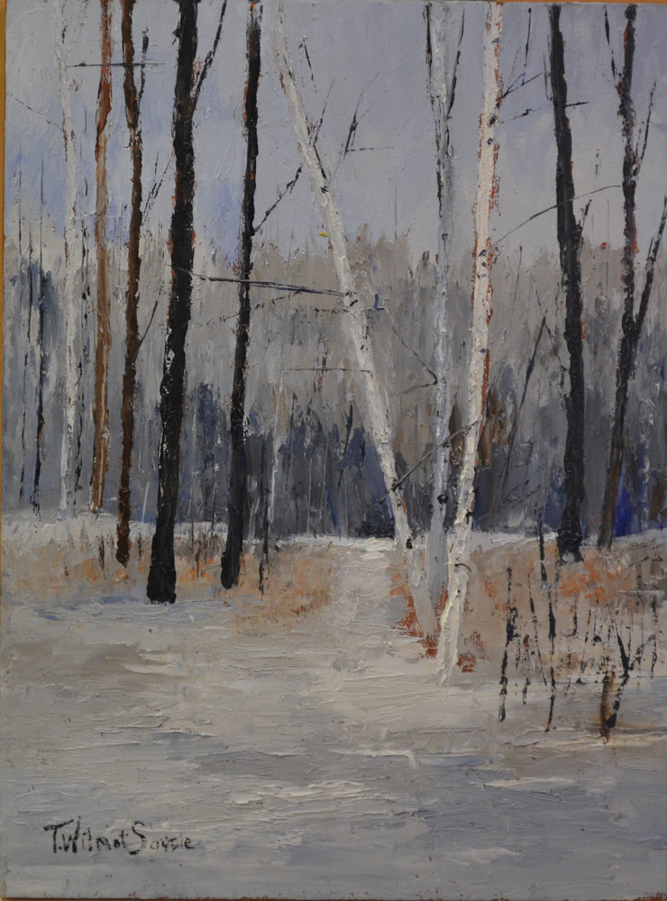 The Silver Days of Winter l - oil on cradled gallery wood panel 16 x 12  8-0116 by Patricia Savoie
