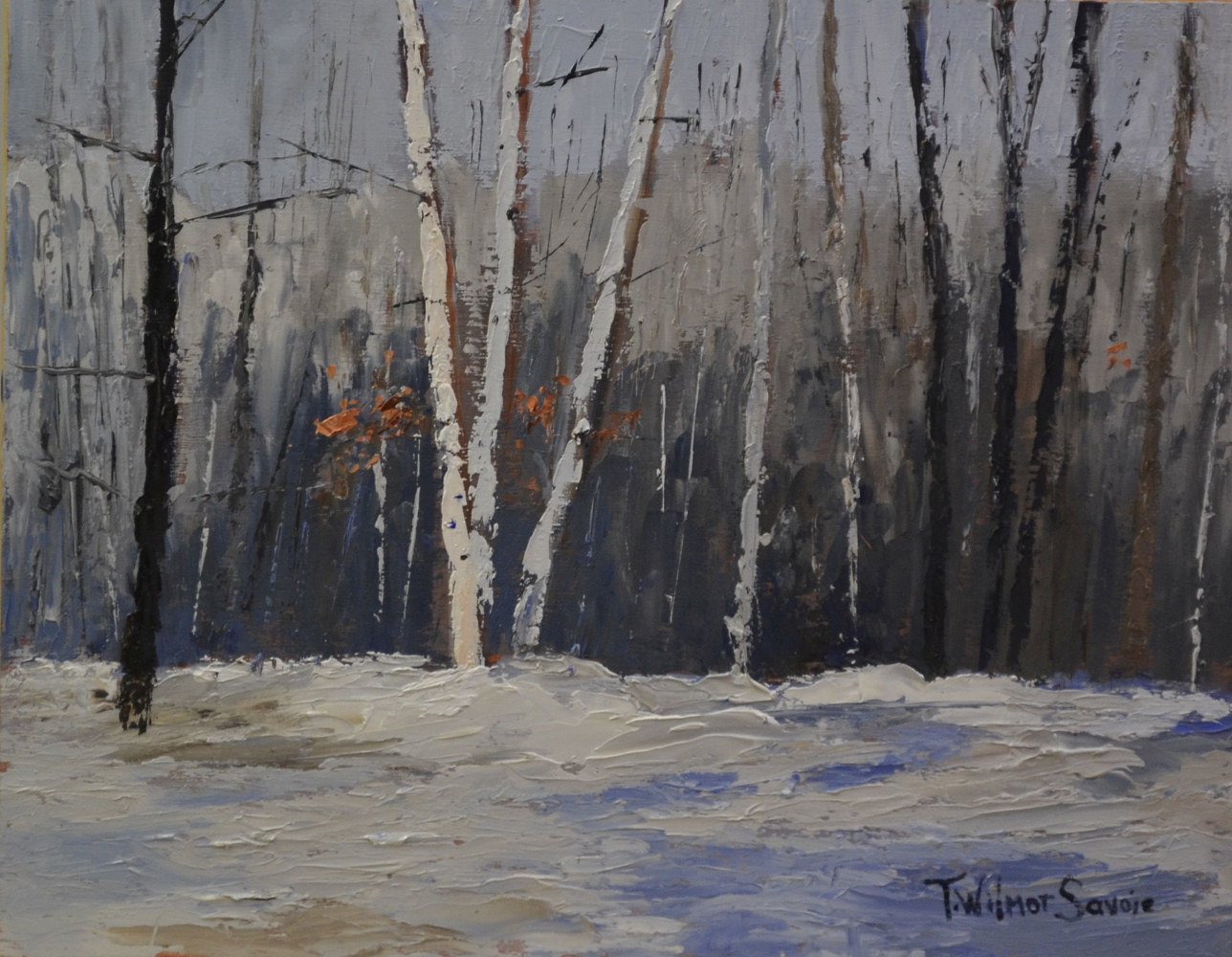 The Silvery Days of Winter - oil on gallery cradled wood panel - class demo     09 0116 by Patricia Savoie