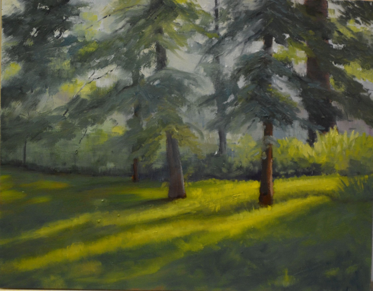 Whispering Pines - oil on cradled wood gallery panel - 11 x 14  10-0716 by Patricia Savoie