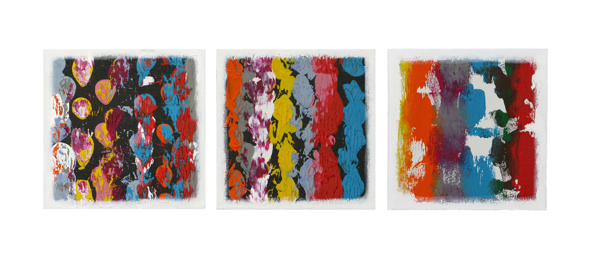 Acrylic painting Color Storm Views II, 8x8 inches each by Hooshang Khorasani