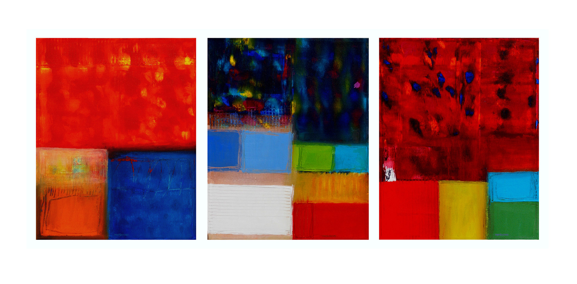 Acrylic painting Color Studies, 16x20 inches each by Hooshang Khorasani