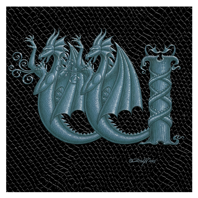 "Print Dragon W, Silver 8x8"" by Sue Ellen Brown"