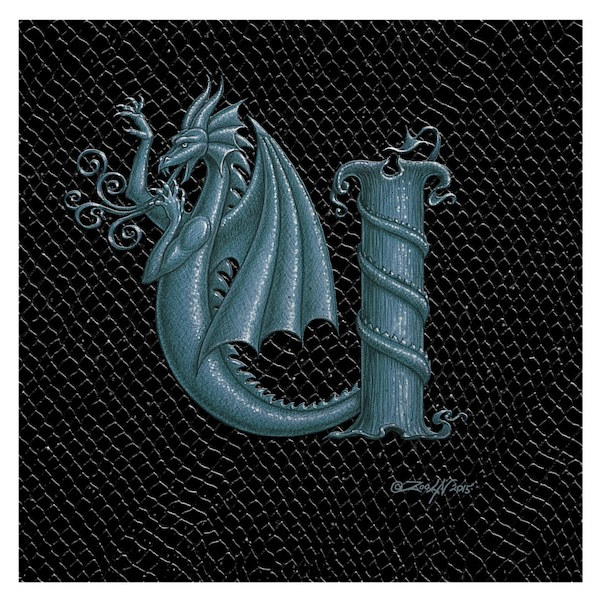 "Print Dragon U, Silver 8x8"" by Sue Ellen Brown"