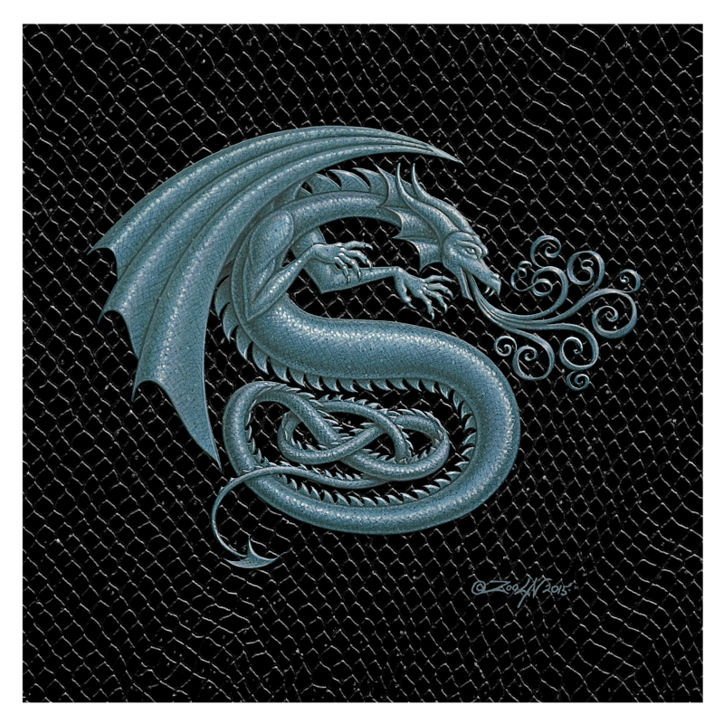 "Print Dragon S, Silver 8x8"" by Sue Ellen Brown"