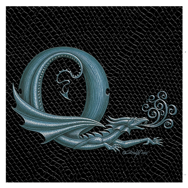"Print Dragon Q, Silver 8x8"" by Sue Ellen Brown"
