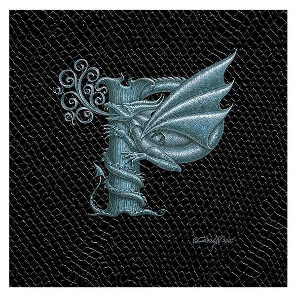 "Print Dragon P, Silver 6x6"" by Sue Ellen Brown"