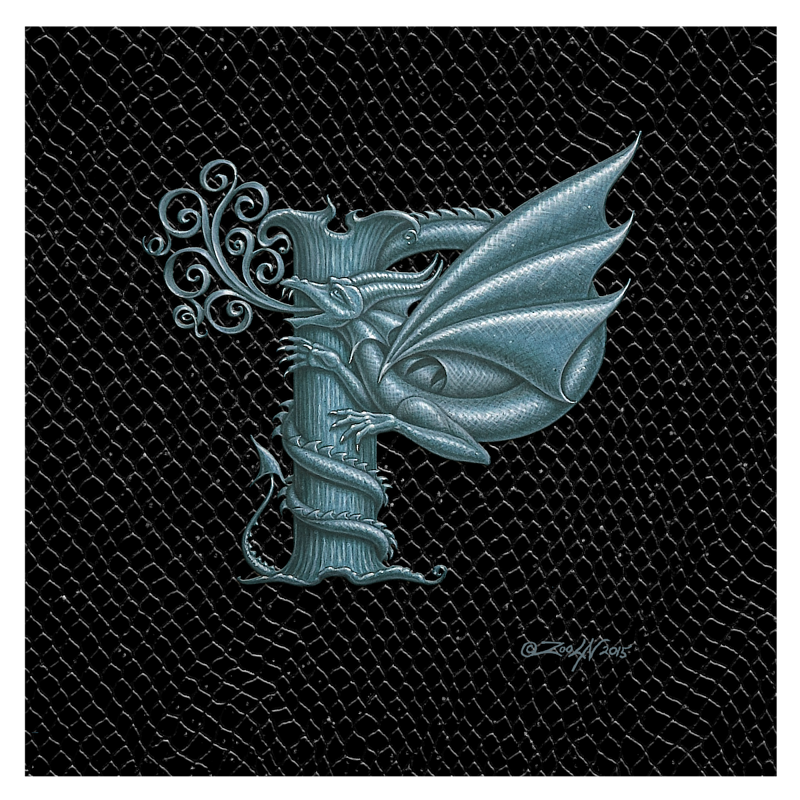 "Print Dragon P, Silver 8x8"" by Sue Ellen Brown"