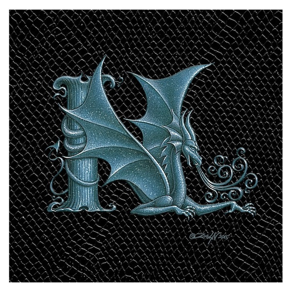 "Print Dragon N, 6""x 6"" Silver on Jet Black Dragonskin by Sue Ellen Brown"