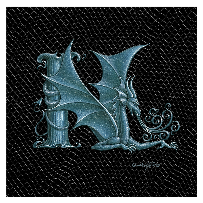 "Print Dragon N, Silver 8x8"" by Sue Ellen Brown"