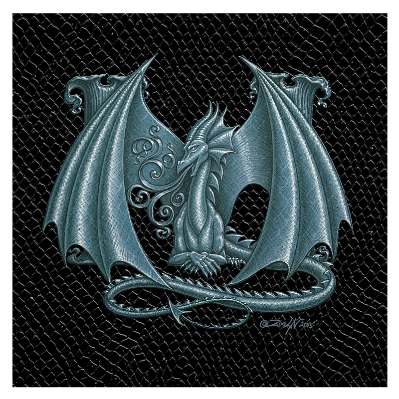 "Print Dragon M, 8""x 8"" Silver on Jet Black Dragonskin by Sue Ellen Brown"