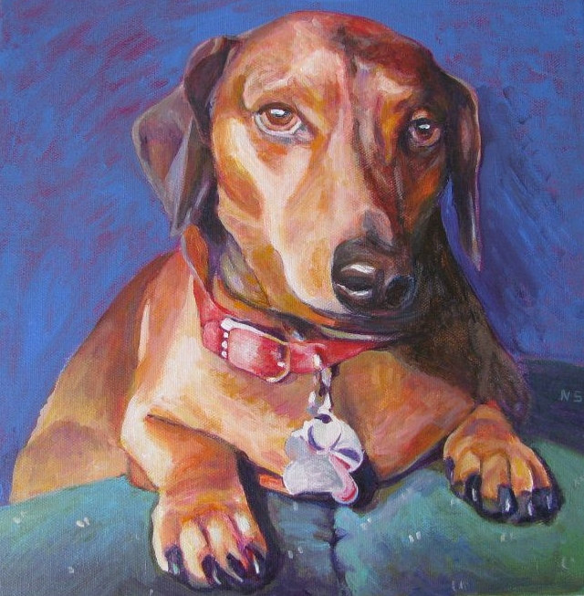 Painting daschhund by Nancy Sharp