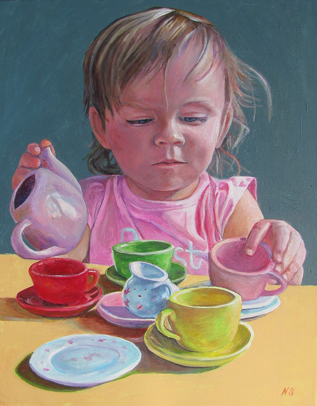 Painting Amalie with Tea Set by Nancy Sharp