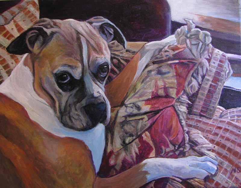 Painting Sweet Dog by Nancy Sharp