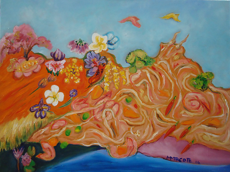 Oil painting Pad Thai Landscape by Michelle Marcotte