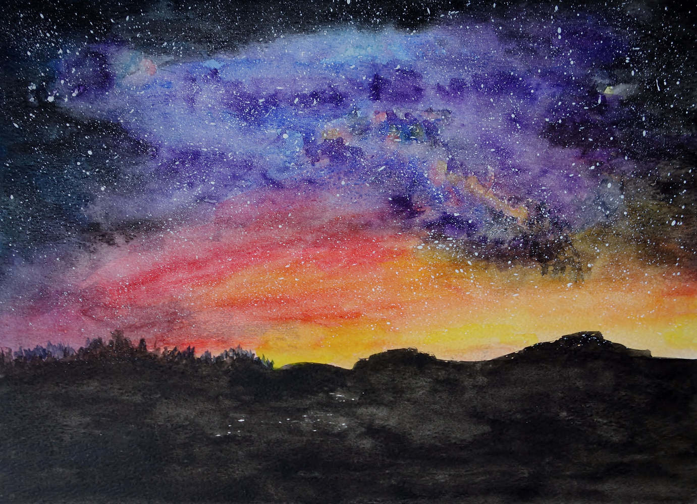 Watercolor Starrynight by Joan Morris