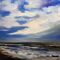 Oil painting Clear Blue Sky   by Barbara Haviland