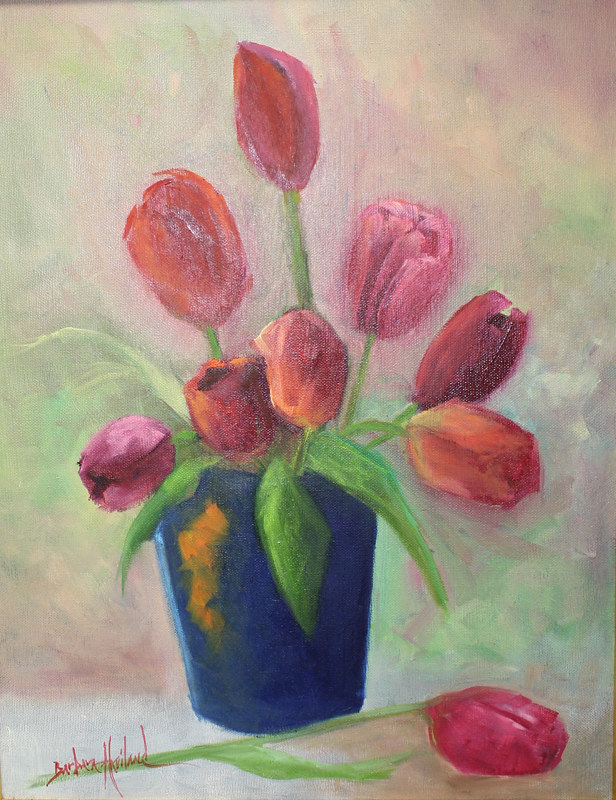 Oil painting Vase of Pink Tulips by Barbara Haviland