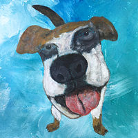 Acrylic painting Dog with a Huge Nose by Bernard Scanlan
