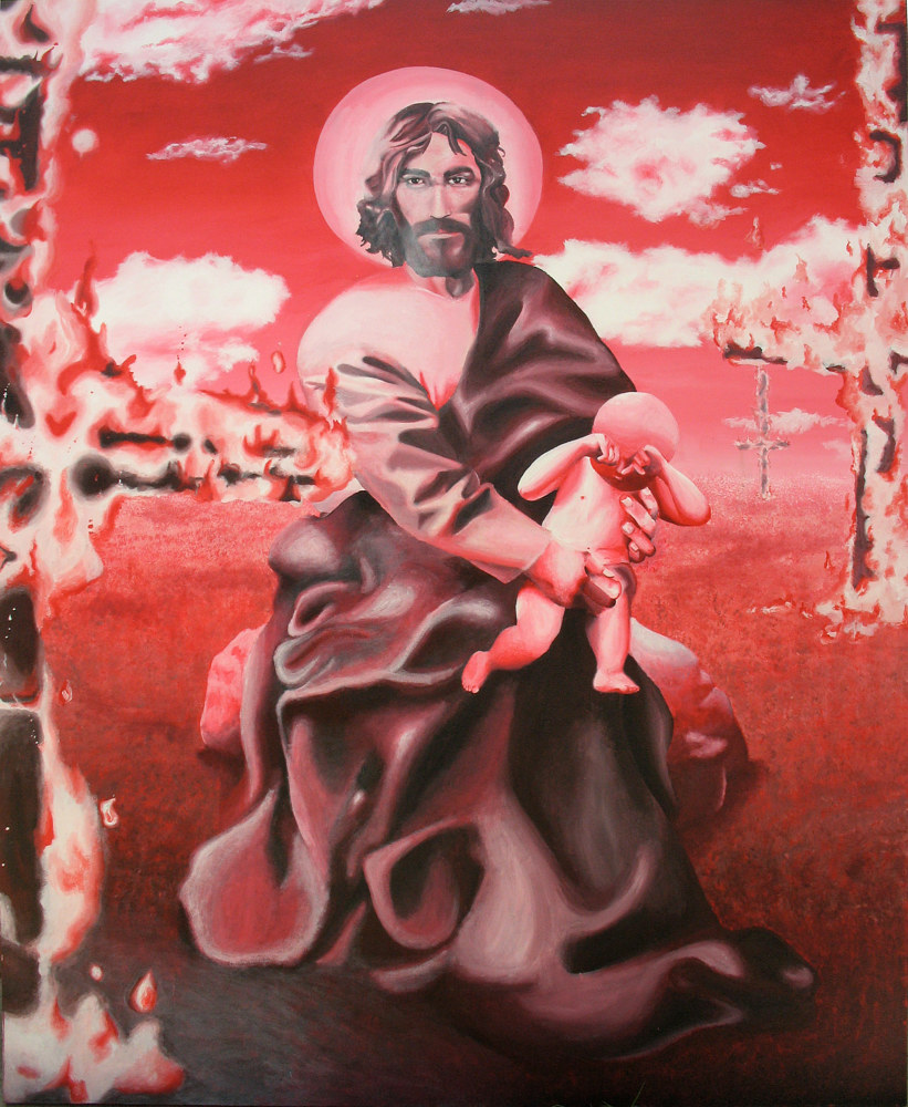 Acrylic painting CHILD MOLESTOR SAINT by Art Carrillo