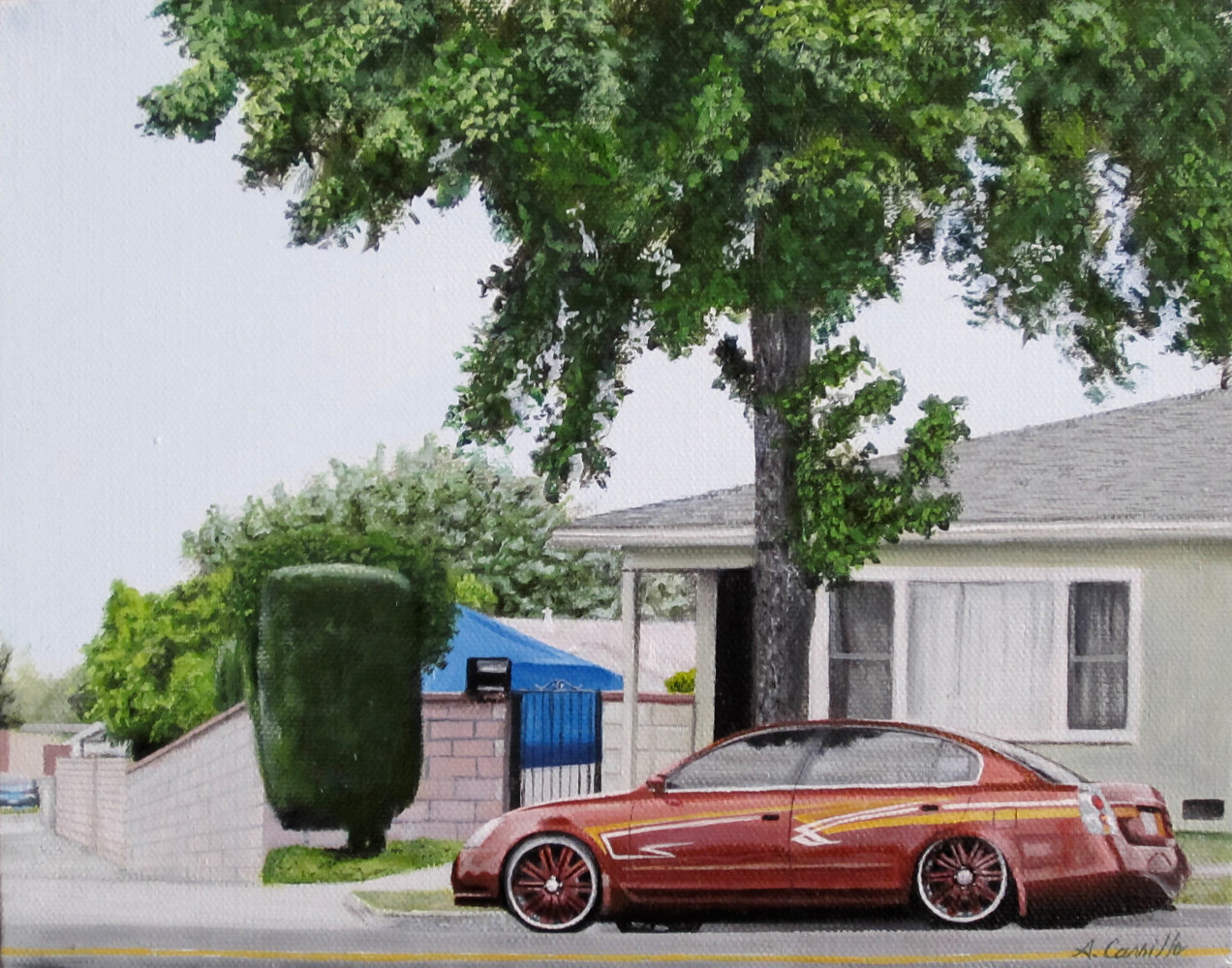 Acrylic painting MY COUSINS HOUSE by Arthur Carrillo