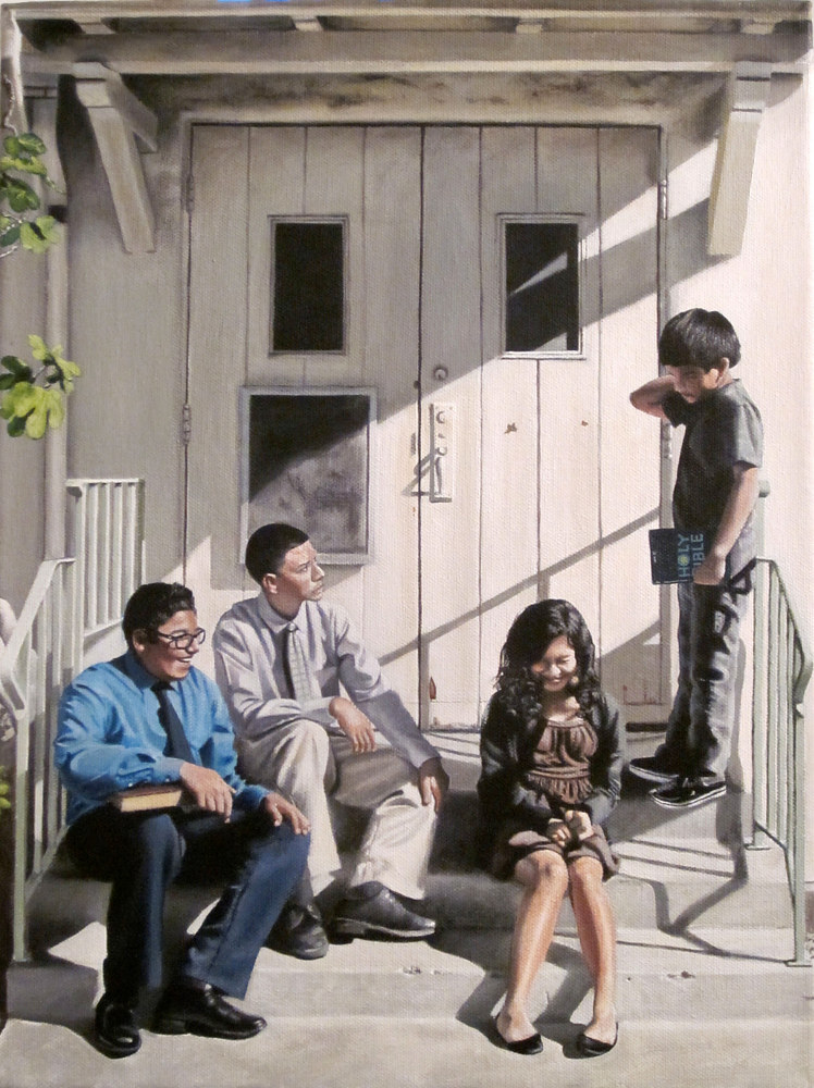 Acrylic painting FRIENDS AND COUSINS by Arthur Carrillo