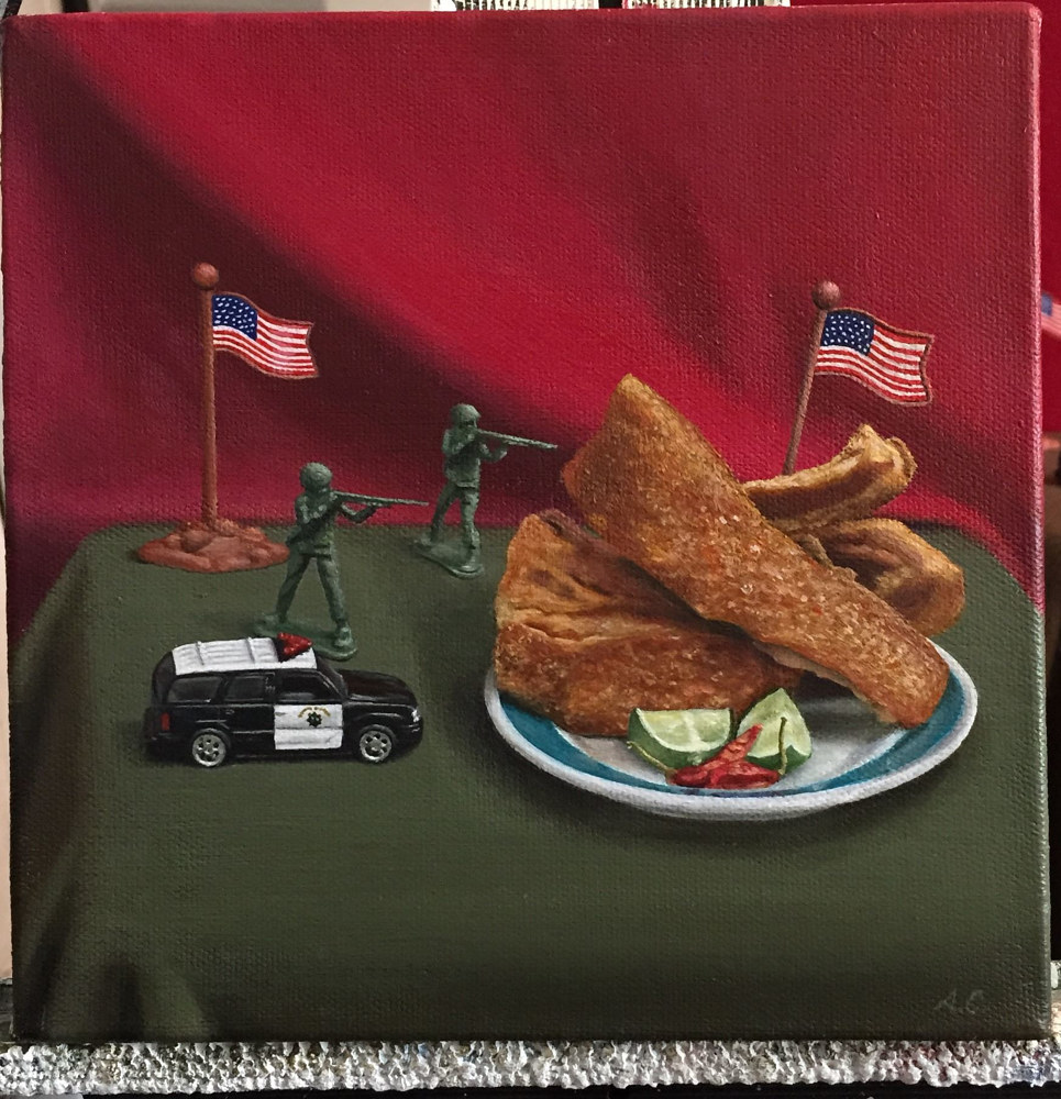 Acrylic painting SUSPECT AMERICA by Arthur Carrillo